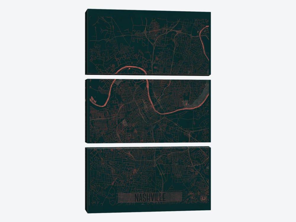 Nashville Infrared Urban Blueprint Map by Hubert Roguski 3-piece Canvas Artwork