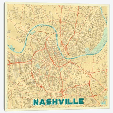 Nashville Retro Urban Blueprint Map Canvas Print #HUR262} by Hubert Roguski Canvas Wall Art