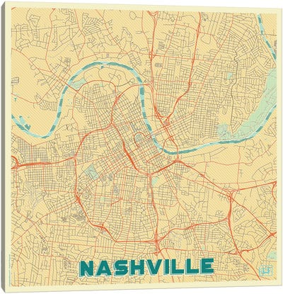 Nashville Retro Urban Blueprint Map Canvas Art Print