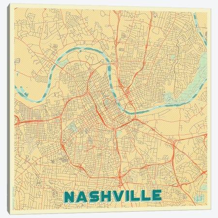 Nashville Retro Urban Blueprint Map 3-Piece Canvas #HUR262} by Hubert Roguski Canvas Wall Art