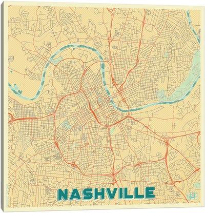 Nashville Retro Urban Blueprint Map Canvas Art Print