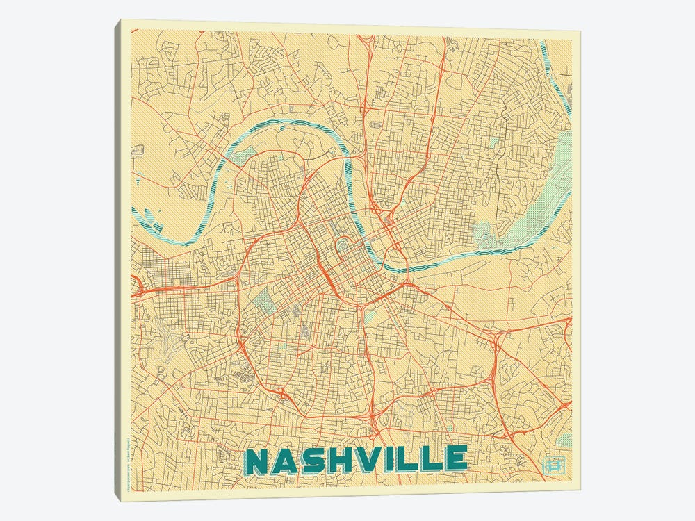 Nashville Retro Urban Blueprint Map by Hubert Roguski 1-piece Canvas Print