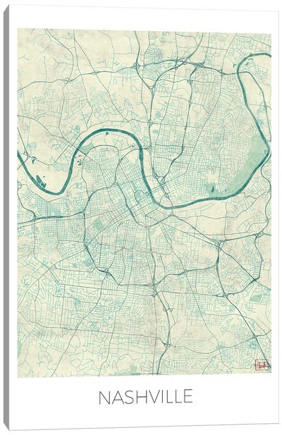 Nashville Vintage Blue Watercolor Urban Blueprint Map Canvas Art Print