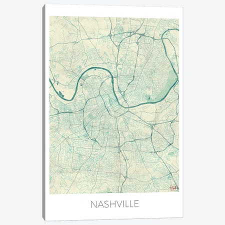 Nashville Vintage Blue Watercolor Urban Blueprint Map Canvas Print #HUR263} by Hubert Roguski Canvas Artwork