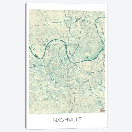 Nashville Vintage Blue Watercolor Urban Blueprint Map 3-Piece Canvas #HUR263} by Hubert Roguski Canvas Artwork