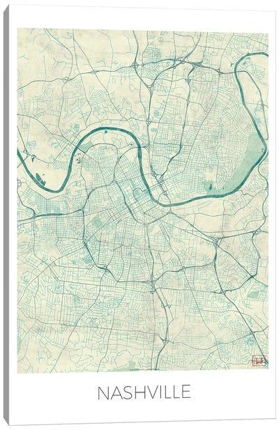 Nashville Vintage Blue Watercolor Urban Blueprint Map Canvas Art Print