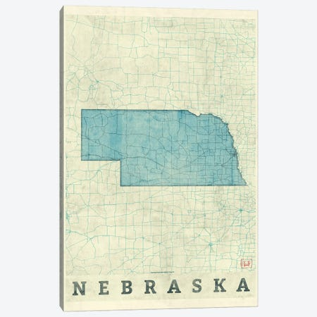 Nebraska Map Canvas Print #HUR264} by Hubert Roguski Canvas Art Print