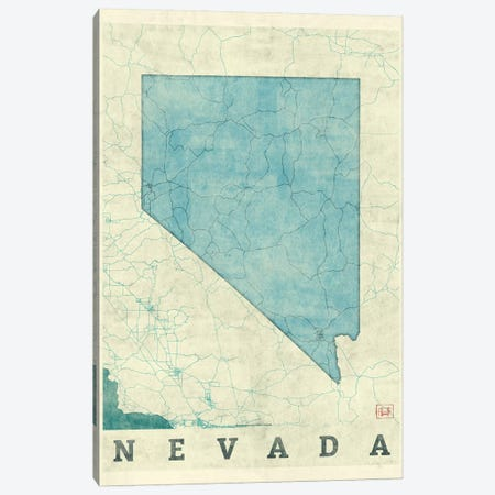Nevada Map 3-Piece Canvas #HUR265} by Hubert Roguski Canvas Art Print