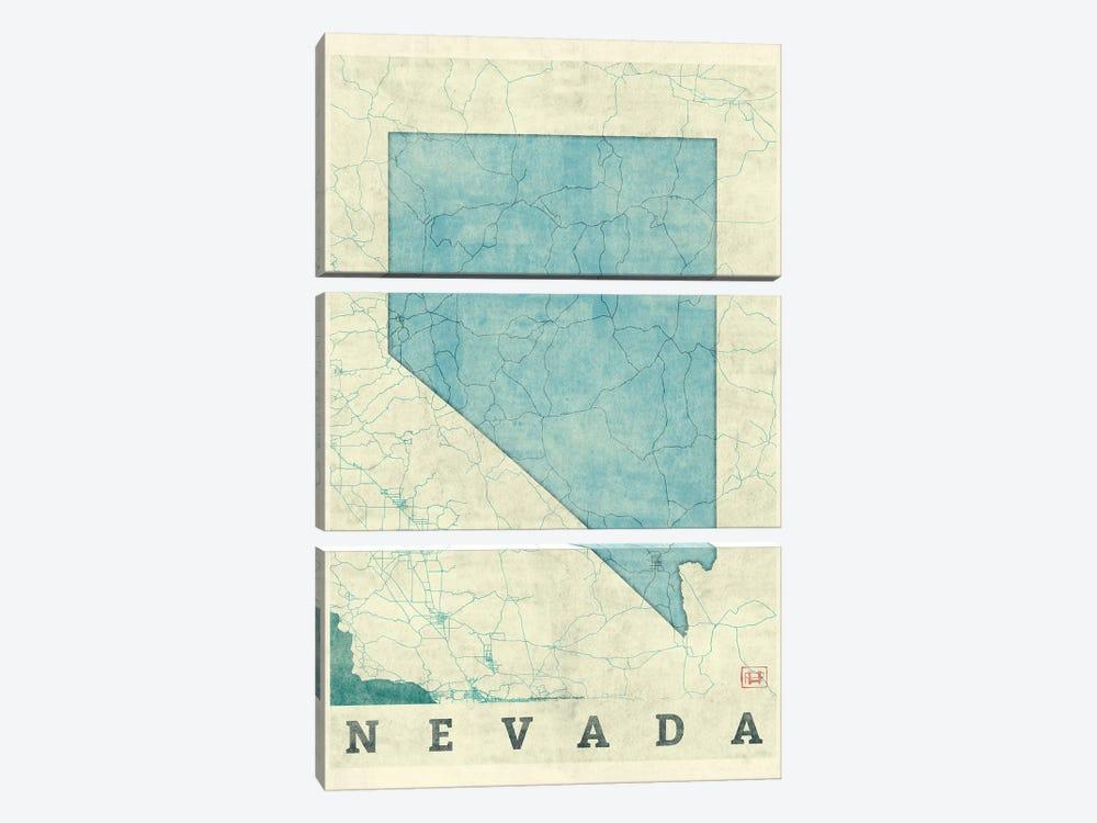 Nevada Map by Hubert Roguski 3-piece Canvas Art