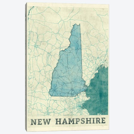 New Hampshire Map Canvas Print #HUR266} by Hubert Roguski Canvas Art Print