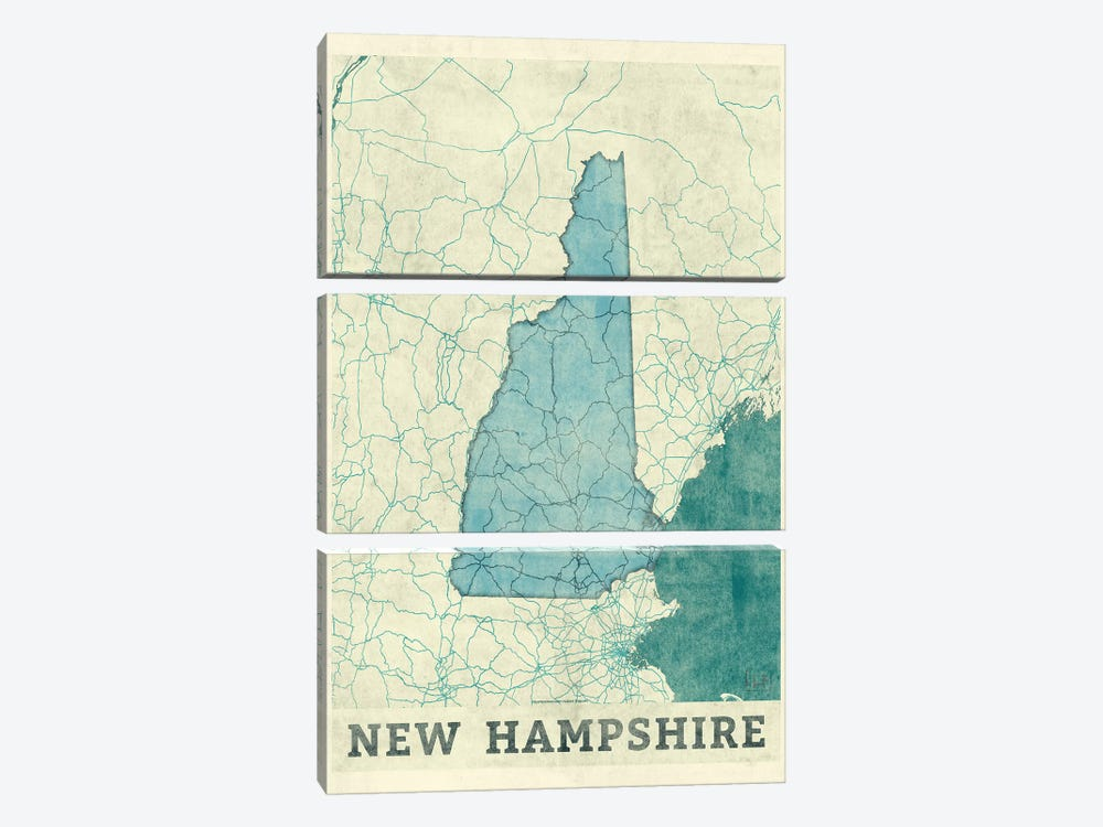 New Hampshire Map by Hubert Roguski 3-piece Canvas Print