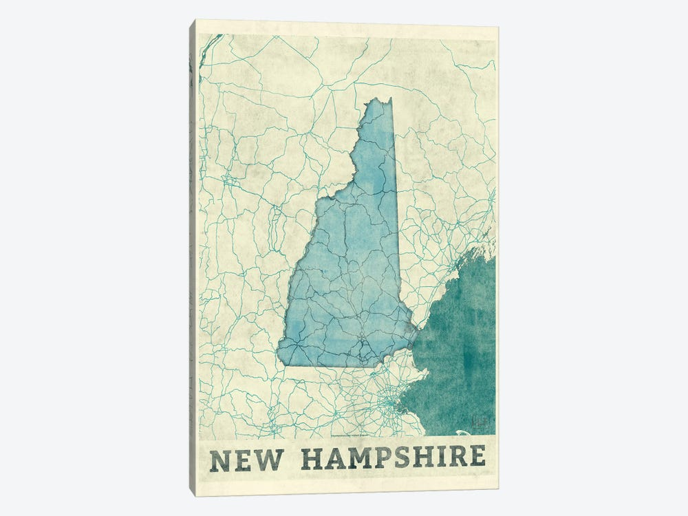 New Hampshire Map by Hubert Roguski 1-piece Canvas Art Print