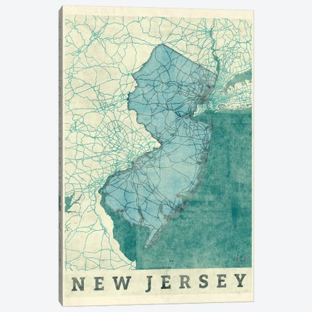 New Jersey Map Canvas Print #HUR267} by Hubert Roguski Art Print