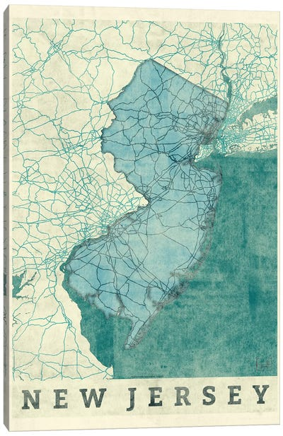 New Jersey Map Canvas Art Print