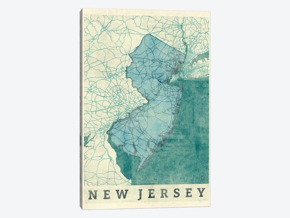 New Jersey Map by Hubert Roguski 1-piece Canvas Wall Art