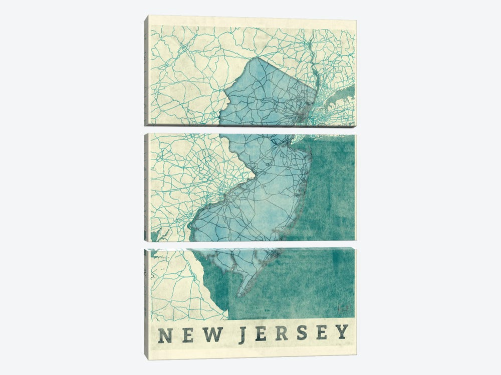 New Jersey Map by Hubert Roguski 3-piece Canvas Wall Art