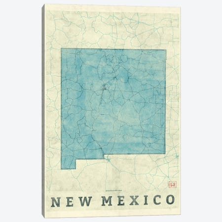 New Mexico Map Canvas Print #HUR268} by Hubert Roguski Canvas Wall Art