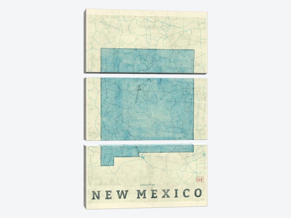 New Mexico Map 3-piece Canvas Art Print