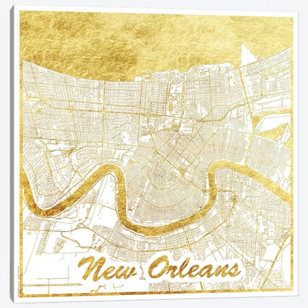 New Orleans Gold Leaf Urban Blueprint Map Canvas Print #HUR269} by Hubert Roguski Canvas Art