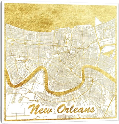 New Orleans Gold Leaf Urban Blueprint Map Canvas Art Print