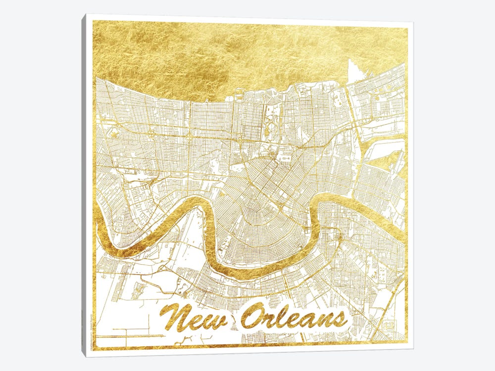 New Orleans Gold Leaf Urban Blueprint Map by Hubert Roguski 1-piece Canvas Artwork