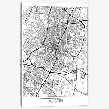 Austin Minimal Urban Blueprint Map Canvas Print #HUR26} by Hubert Roguski Canvas Art