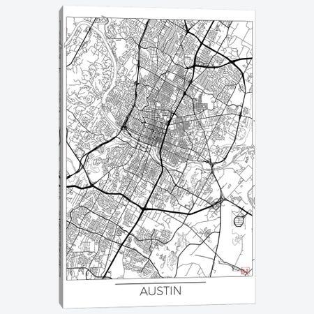 Austin Minimal Urban Blueprint Map Canvas Print #HUR26} by Hubert Roguski Canvas Art