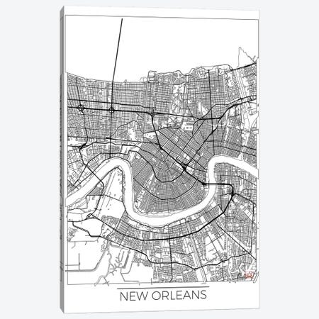New Orleans Minimal Urban Blueprint Map Canvas Print #HUR270} by Hubert Roguski Canvas Print