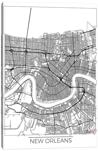New Orleans Minimal Urban Blueprint Map Canvas Art Print