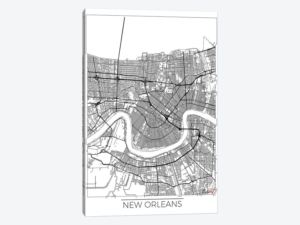 New Orleans Minimal Urban Blueprint Map by Hubert Roguski 1-piece Canvas Wall Art