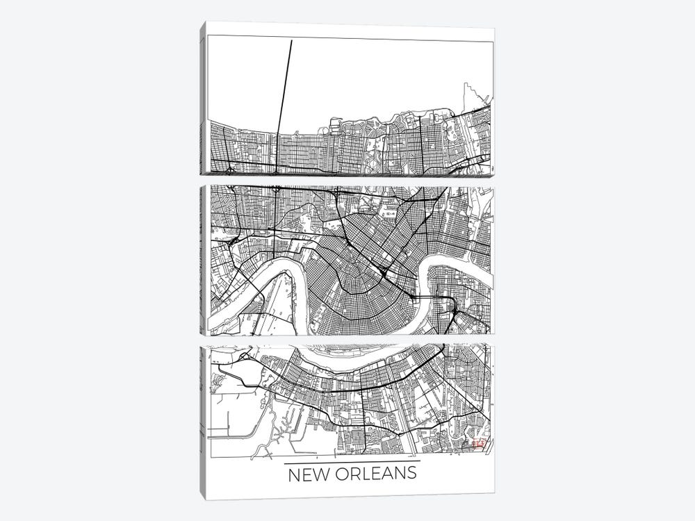 New Orleans Minimal Urban Blueprint Map by Hubert Roguski 3-piece Canvas Artwork