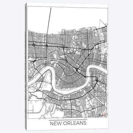 New Orleans Minimal Urban Blueprint Map 3-Piece Canvas #HUR270} by Hubert Roguski Canvas Print