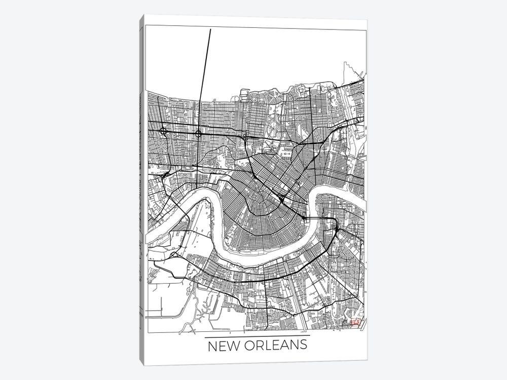 New Orleans Minimal Urban Blueprint Map by Hubert Roguski 1-piece Canvas Wall Art