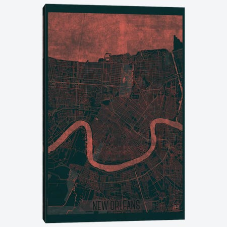 New Orleans Infrared Urban Blueprint Map Canvas Print #HUR271} by Hubert Roguski Canvas Print