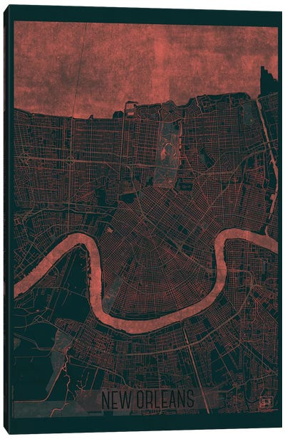 New Orleans Infrared Urban Blueprint Map Canvas Art Print