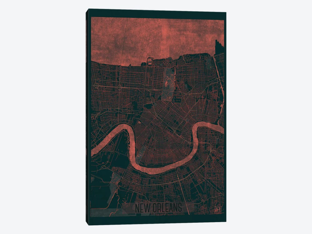 New Orleans Infrared Urban Blueprint Map by Hubert Roguski 1-piece Art Print