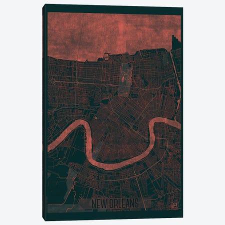 New Orleans Infrared Urban Blueprint Map 3-Piece Canvas #HUR271} by Hubert Roguski Canvas Print