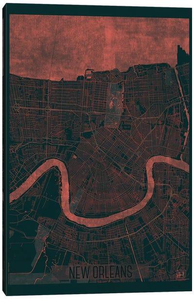 New Orleans Infrared Urban Blueprint Map Canvas Art Print
