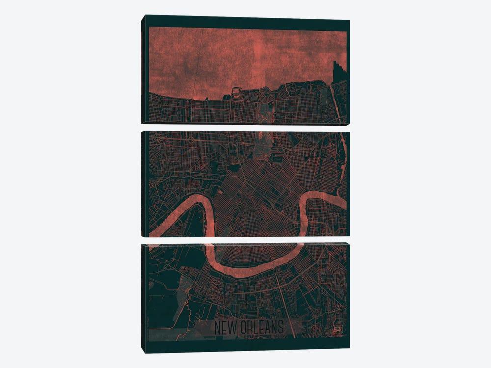 New Orleans Infrared Urban Blueprint Map by Hubert Roguski 3-piece Art Print