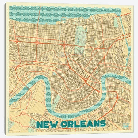 New Orleans Retro Urban Blueprint Map Canvas Print #HUR272} by Hubert Roguski Art Print
