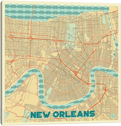 New Orleans Retro Urban Blueprint Map Canvas Art Print