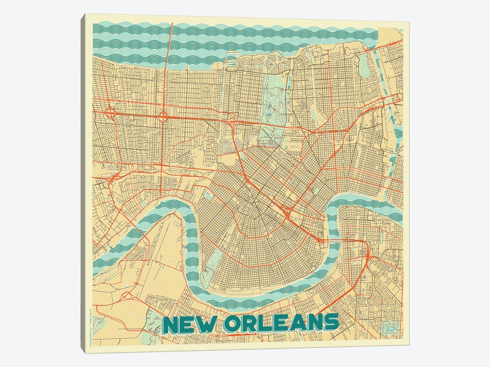 New Orleans Retro Urban Blueprint Map by Hubert Roguski 1-piece Canvas Art