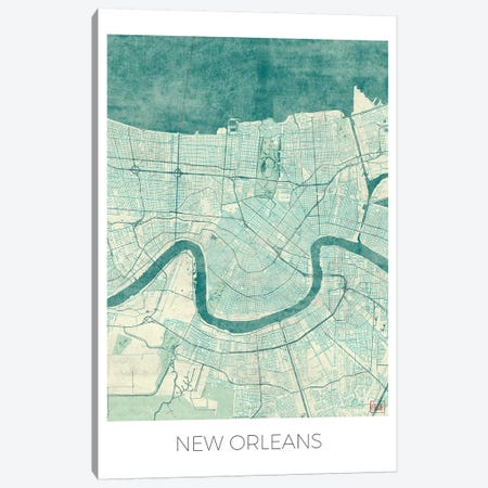 New Orleans Vintage Blue Watercolor Urban Blueprint Map Canvas Print #HUR273} by Hubert Roguski Canvas Art Print