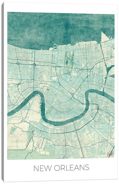 New Orleans Vintage Blue Watercolor Urban Blueprint Map Canvas Art Print