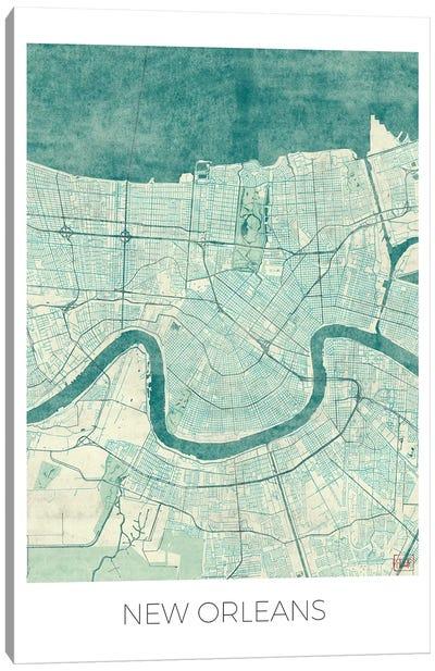 New Orleans Vintage Blue Watercolor Urban Blueprint Map Canvas Art Print