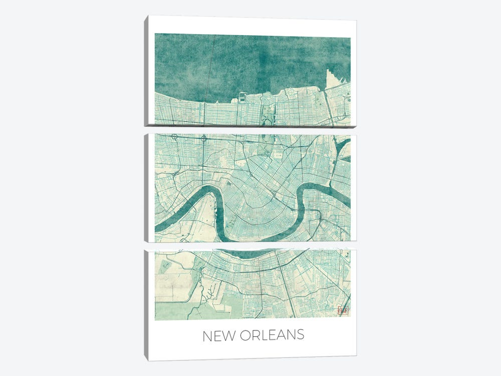 New Orleans Vintage Blue Watercolor Urban Blueprint Map by Hubert Roguski 3-piece Canvas Print