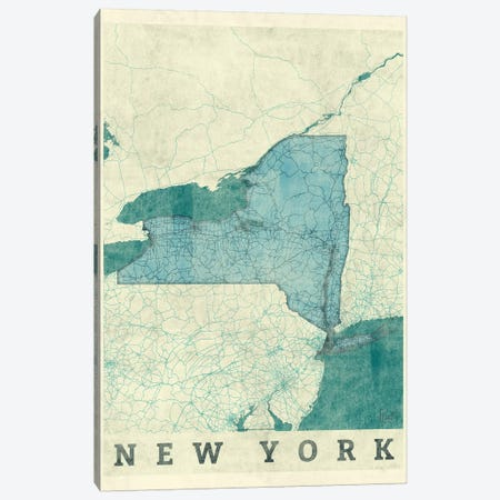 New York Map Canvas Print #HUR274} by Hubert Roguski Canvas Wall Art