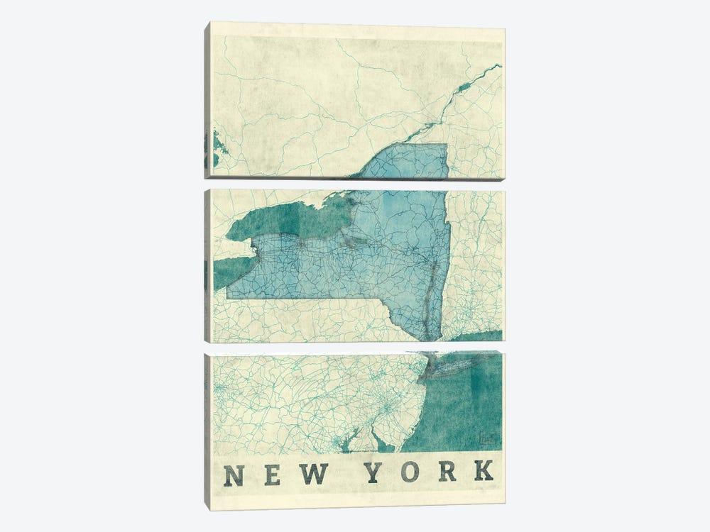 New York Map by Hubert Roguski 3-piece Canvas Wall Art