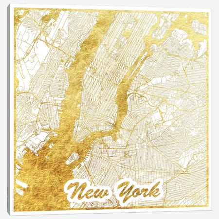 New York Gold Leaf Urban Blueprint Map Canvas Print #HUR275} by Hubert Roguski Canvas Wall Art