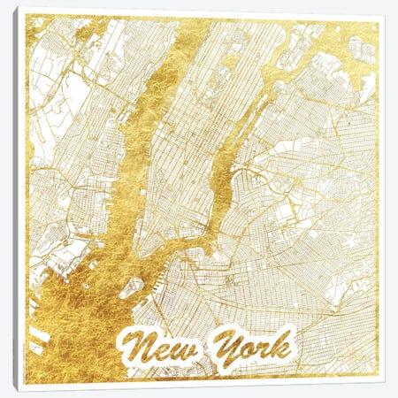 New York Gold Leaf Urban Blueprint Map 3-Piece Canvas #HUR275} by Hubert Roguski Canvas Wall Art